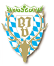 Stilisierter Hirschkopf mit Geweih. Bayerische Rauten im Hintergrund.