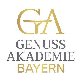 """Logo mit großem G, stilisiert durch Arm und Serviertablett, und großem A, darunter Schriftzug """"Genussakademie""""."""